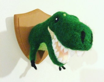 T-rex needle felted trophy head small made to order