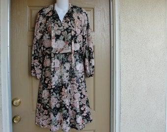 Vintage 1970s or 1980s floral print sheer dress medium 70s 80s