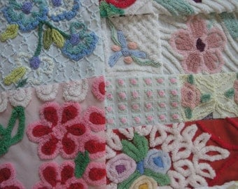 Vintage Chenille Bedspread Fabric Flowers by the Bunch Morgan Jones Cabin Craft...(j50)