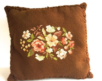 Vintage Brown Floral Needlepoint Pillow