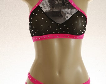 Exotic Dancewear Newsprint 2 piece set