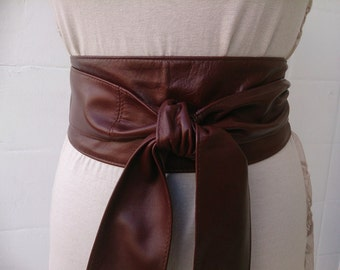 Brown soft real leather obi belts sash belts tie belts wrap around wide belt corset belts bohemian boho trend handmade in Spain Gifs for Her