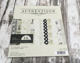"""AUTHENTIQUE Peaceful Collection, 6"""" X 6"""" bundle, paper pad, scrapbooking and paper crafts"""