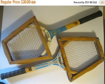 On Sale Vintage Set of 2 Wood Tennis Rackets w/Wood Press, Wilson Chris Evert Champ and Wilson Maureen Connolly Pro Model, Tennis Anyone?