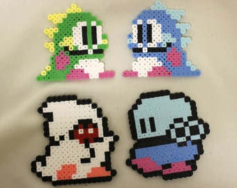 NES Bubble Bobble Set of 4 Dinosaurs and Monsters Sprite Perler Pixel Art