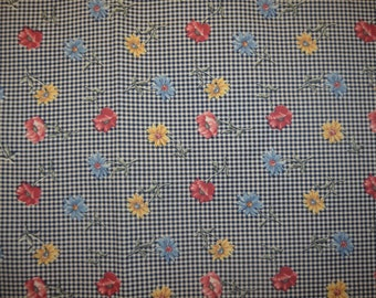 Vintage 1995 Mark Fabric Inc Black Ginghan Floral Fabric Piece  - 75 inches X 90 inches