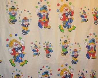 Vintage Upcylced Polyester Clown Fabric Piece 60 X 90 Inches - Juggling Clown - Clown on Unicycle
