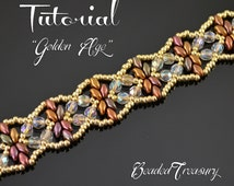 Golden Age - superduo bead pattern, beading tutorial, beadwoven bracelet pattern, seed beads, fire-polished beads / TUTORIAL ONLY