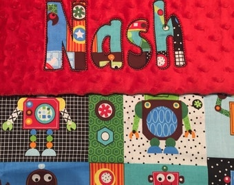 "Robot Minky Blanket with Appliqued Name 30"" x 36"""