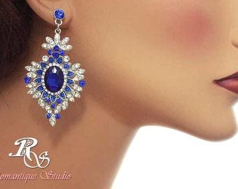 Blue art deco earrings, sapphire blue rhinestone bridal earrings, blue gatsby bridal earrings, something blue, wedding jewelry, style 1181
