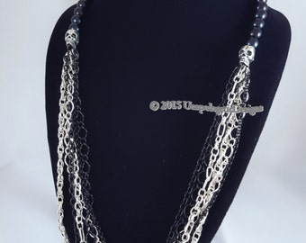 Silver-Black Skulls & Chains Necklace