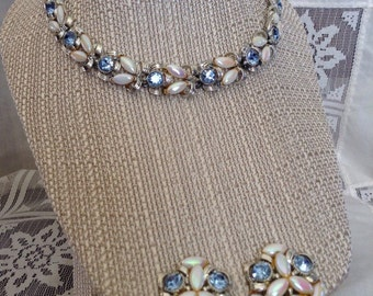 Vintage BSK Silver and Pearl choker and earring/shoe clip set