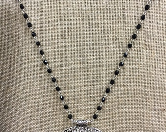 Black onyx look pendent with onyx beaded chain necklace.