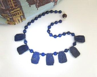 I Get A Kick Out of You / Lapis and Egyptian Blue Quartz Gemstone Necklace