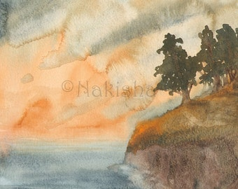 Original Watercolor Painting - Forest Above The Sea