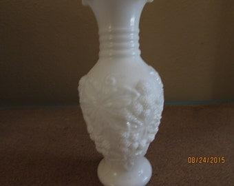 """vintage white glass 6 1/2"""" tall, white wedding decor"""
