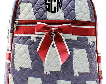Personalized Alabama Quilted Kid's Backpack - Crimson & Grey Monogrammed Embroidered Girls Bookbag School Bag