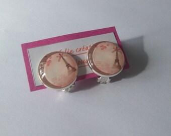 Clips, glass cabochon earrings