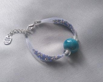 Bracelet FishNet white and blue beads