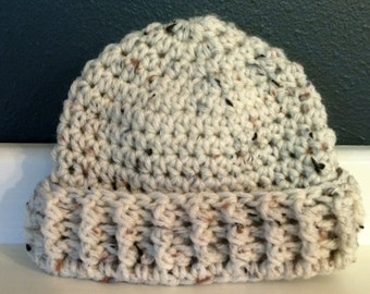 Tan Tweed Beanie with Ribbed Cuff