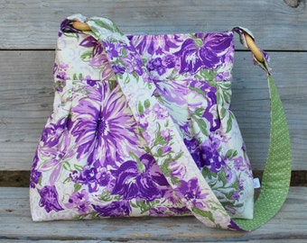Purple Lilac Purse, Fabric Shoulder Bag, Pleated Purse, Fabric Purse, Purple Floral Shoulder Bag, Cotton Purse, New smaller size!