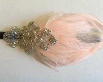 Pink 1920s headband, feather headband, silver headpiece, great gatsby headband, flapper dress, beaded headband, Art Deco feather fascinator