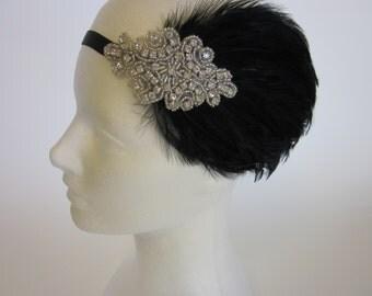Rhinestone 1920s Headpiece, great gatsby headband, silver headpiece, feather headband, black headband, gray feather flapper dress, Art Deco