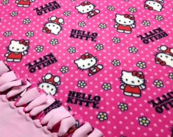 Hello Kitty Blanket-No Sew Fleece Blanket-Large