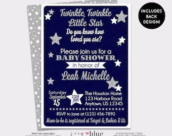 Twinkle Twinkle Little Star Baby Shower Invitation Twinkle Gender Neutral Navy Blue Silver Glitter Invitation - Double Sided Digital File