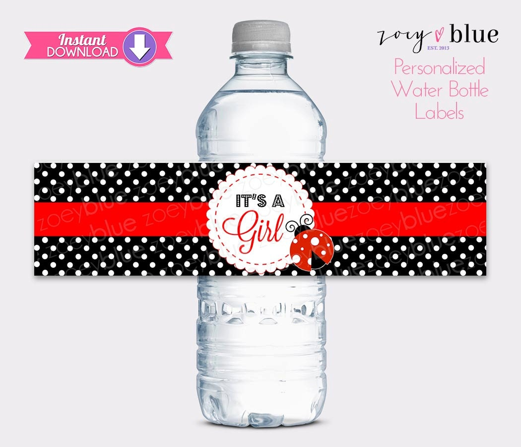 Ladybug water bottle labels lady bug baby shower printable label black red it 39 s a girl diy - Ladybug watering can ...