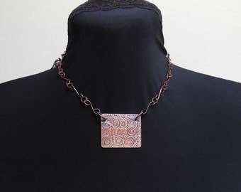 Copper etched pendant with chain