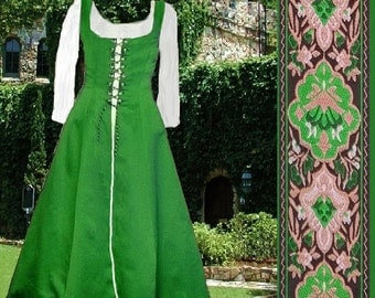FREE SHIP Renaissance Costume Medieval SCA Garb Kelly Green FrtLacng Gown 6Gore Flaired SzFlex Surcote lxl