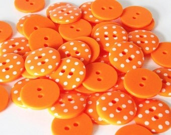 10 x 18mm Orange Polka Dot Buttons