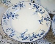 Set of 6 Antique transferware dinner plates. Blue transferware plates. Antique transferware. Boch Frères Keramis. Earthenware ironstone