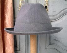 French vintage grey men's lightweight summer fedora. Men's boho chic. Men's Parisian chic. Dove grey mens fedora. Breathable summer hat.