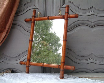 French vintage beech wood faux bamboo mirror with chain. French country. Rustic. Shabby paris chic