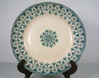 Antique french ironstone teal green transferware round serving platter. Teal green transferware. French transferware. Christmas serving