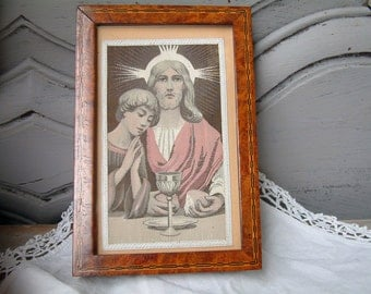Antique french silk image of Jesus Christ. Holy communion. Marquetry wood frame. First communion gift. Family home altar. Christian decor.