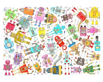 What a mess all these robots! Print of my original watercolor-decoration kids room, nursery or cute gift for a babyshower- nice illustration