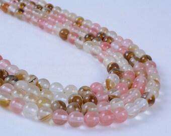"6MM258 6mm Valcano cherry quartz round ball loose gemstone beads 16"""