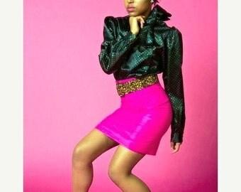 SALE Hot Pink Vintage High Waist Pencil Skirt