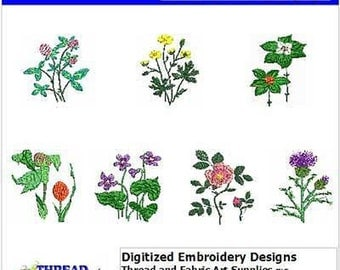 Embroidery Design CD - Wildflowers(1) - 7 Designs - 9 Formats - Threadart