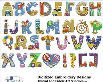 Embroidery Design CD - Transportation Letters- 31 Designs - 9 Formats- Threadart