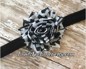 SALE Black and White Checkered Shabby Chic Flower Headband, Baby Headband, Toddler Headband, Girls Headband, Adult Headband, Photo Prop