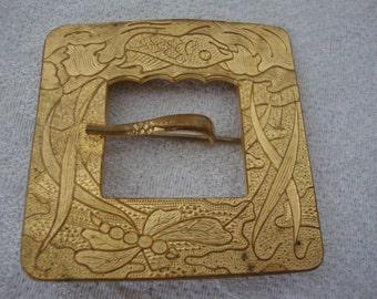 Vintage Gold-Tone Square Belt Buckle Brooch