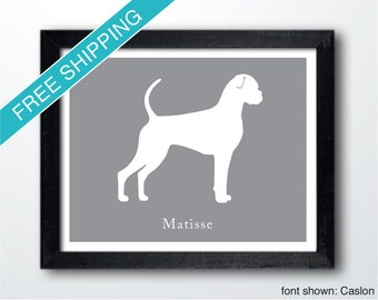 Personalized Boxer Silhouette Print with Custom Name (Natural version 2)