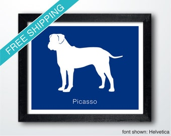 Personalized Bullmastiff Silhouette Print with Custom Name