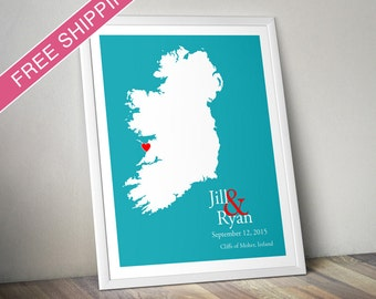 Custom Wedding Gift : Personalized Wedding Location and Country Map Print - Ireland - Engagement Gift, Wedding Guest Book