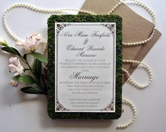Rustic Garden Fairytale Moss Wedding Invitation sets- Custom Wedding Invitation - Tea Party Wedding Ideas