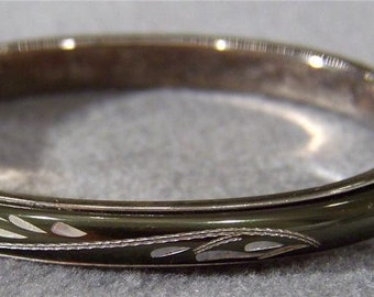Vintage Silver Tone Guilloche Enamel Etched Bangle Bracelet Jewelry **RL
